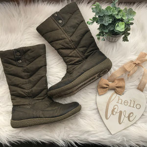 Rocket Dog Olive Brown Quilted Winter Snow Boots